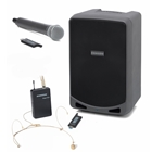 SAMSON XP106W 100w PA system with Handheld and Headset  Wireless Mics